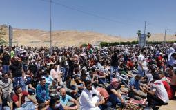 مظاهرة على الحدود بين الاردن وفلسطين المحتلة