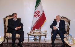 الامين العام لحركة الجهاد الإسلامي زياد النخالة خلال لقائه بوزير الخارجية الإيراني جوادظريف