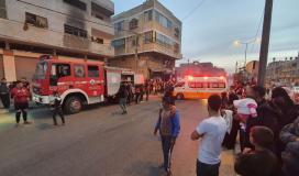 إصابة مواطنين بالاختناق إثر اندلاع حريق بمنزل في خانيونس