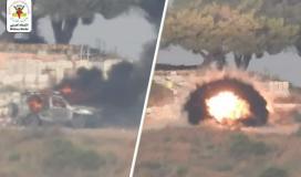 استهداف سرايا القدس لجيب عسكري بصاروخ كورنيت