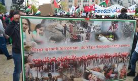 متضامنون يواصلون المشاركة في المسيرات في بلجيكا تنديدًا بجرائم الاحتلال ضد الفلسطينيين