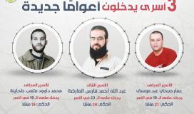 الأسرى عبد الله العارضة ومحمد طحاينة وعمار موسى يدخلون أعوامًا جديدة في الأسر